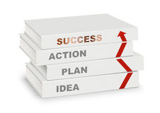 La pile des livres a couvert l'idée, le plan, l'action, le succès et la flèche, busi Photographie stock