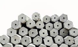 La pile des piles concrètes de base d'hexagone d'isolement Image stock