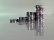 La pile s'est pliée des pièces de monnaie sous forme de diagrammes Photographie stock libre de droits
