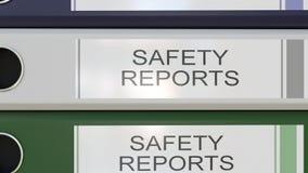 La pile verticale de reliures multicolores de bureau avec des rapports sur la sécurité étiquette illustration de vecteur