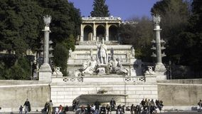 La Pincio fountain. The Pincio side of the piazza del popolo in Rome with fountain and sculptures of the four seasons Royalty Free Stock Images