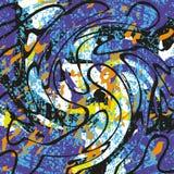 La pintada coloreada mancha en una textura negra del grunge del fondo Imagen de archivo libre de regalías