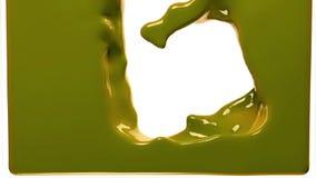La pintura amarilla llena la pantalla, cámara lenta, aislada en blanco del cannel alfa stock de ilustración