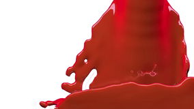 La pintura anaranjada llena la pantalla, cámara lenta, aislada en blanco del cannel alfa libre illustration