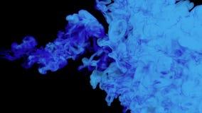 La pintura azul disolvió en agua en un fondo negro 3d rinden gráficos del voxel simulación por ordenador 2 tinta estilizada ilustración del vector