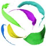 La pintura coloreada salpica Foto de archivo libre de regalías