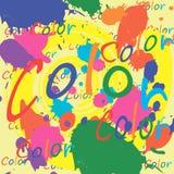 La pintura coloreada salpica en el fondo blanco Fotografía de archivo