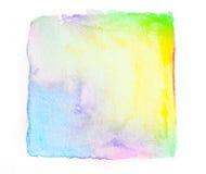 la pintura cuadrada abstracta de la mano de la acuarela aislada en la parte posterior del blanco Imágenes de archivo libres de regalías