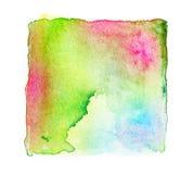 la pintura cuadrada abstracta de la mano de la acuarela aislada en la parte posterior del blanco Fotografía de archivo libre de regalías