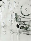 La pintura de acrílico abstracta con el chapoteo, fluye abajo, los goteos, sonrisa y las letras Foto de archivo libre de regalías
