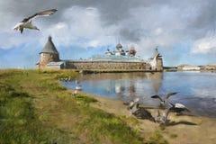 La pintura de gaviotas, maúlla, monasterio de Solovki Fotografía de archivo