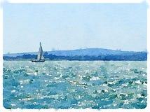 La pintura de la acuarela de un barco de navegación en el mar con las velas sube a fotos de archivo libres de regalías