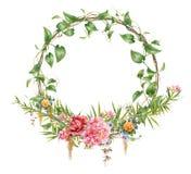 La pintura de la acuarela se va y flor, con el círculo en el fondo blanco Foto de archivo