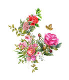 La pintura de la acuarela se va y flor, en el fondo blanco Fotos de archivo libres de regalías