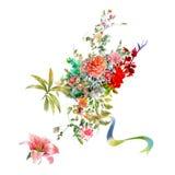 La pintura de la acuarela se va y flor, en el fondo blanco Foto de archivo libre de regalías