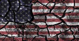 La pintura de la bandera americana sobre el alto detalle agrietó la tierra libre illustration
