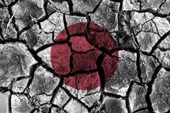La pintura de la bandera de Japón sobre el alto detalle agrietó la tierra ilustración del vector