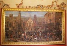 La pintura de la batalla en el museo Palazzo Te en Mantova, Italia Fotografía de archivo libre de regalías