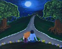 La pintura de la lona que muestra la noche del amor con los pares, la luna y los árboles con el ser humano les gusta caras Fotos de archivo