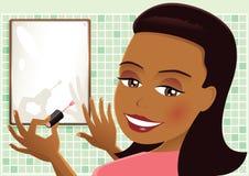 La pintura de la muchacha clava rosa Ilustración del Vector