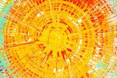 La pintura de la turquesa, amarilla y roja salpica en la cartulina Imagen de archivo libre de regalías