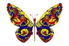 La pintura del amarillo del rojo azul hizo la mariposa ilustración del vector
