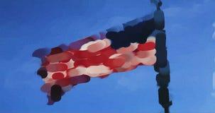 La pintura del color de agua rinde de la bandera de Estados Unidos almacen de metraje de vídeo
