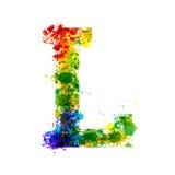 La pintura del color salpica Fuente de vector de la pendiente Diseñador Decoration Alphabet de la acuarela Símbolos de la tinta a Fotografía de archivo