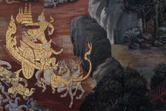 La pintura del ramayana en templo público en Tailandia Imágenes de archivo libres de regalías