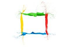 La pintura líquida colorida salpica colores mezclados marco imágenes de archivo libres de regalías