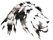 La pintura monocromática blanco y negro con agua y la tinta dibujan el ejemplo del león Imagenes de archivo