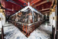 La pintura mural más larga del mundo, Wat Phra Kaew, Bangkok, señal de Tailandia. Fotos de archivo