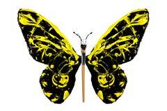 La pintura negra y amarilla hizo la mariposa Imagenes de archivo