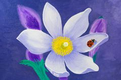 La pintura se hace en aceite Flor de Lotus blanco con una mariquita roja en una hoja libre illustration