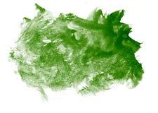 La pintura verde del movimiento salpica la acuarela del color Fotos de archivo libres de regalías