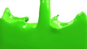 La pintura verde llena la pantalla, cámara lenta, aislada en blanco del cannel alfa ilustración del vector
