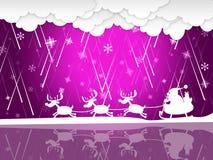 La pioggia di natale mostra Santa Claus And Christmas Immagini Stock