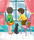 La pioggia non significa gioco all'esterno Immagini Stock Libere da Diritti