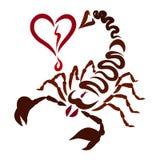 La piqûre d'un scorpion vient droite dans le coeur, sentiments et illustration libre de droits