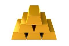 La pirámide de las barras de oro 3d rinde en el fondo blanco Imágenes de archivo libres de regalías