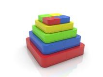 La pirámide del rompecabezas junta las piezas en diversos colores en blanco Fotos de archivo