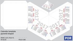 La piramide (brasiliana) portoghese 2017 del calendario del modello ha modellato illustrazione vettoriale