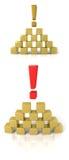 La piramide dei cubi con un contrassegno di esclamazione Immagine Stock