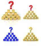 La piramide dei cubi con un punto interrogativo Fotografia Stock Libera da Diritti