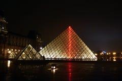 La piramide di vetro del Louvre Immagini Stock Libere da Diritti