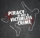 La piratería no es un esquema Copyright Violati de la tiza del crimen sin víctimas Imagenes de archivo