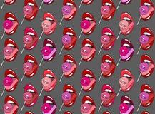 La piruleta en boca, vector el modelo inconsútil Foto de archivo