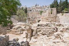 La piscina antigua de Bethesda arruina la ciudad del inOld de Jerusalén Imágenes de archivo libres de regalías