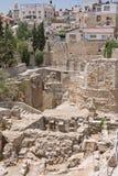 La piscina antigua de Bethesda arruina la ciudad del inOld de Jerusalén Foto de archivo libre de regalías