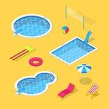 La piscina e l'acqua all'aperto parcheggiano le icone di vettore 3d e l'insieme di elementi isometrici di progettazione illustrazione di stock